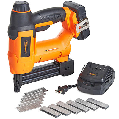 Best Cordless Staple Guns VonHaus 18V Lithium-Ion Cordless 18 Gauge Brad Nailer and Stapler