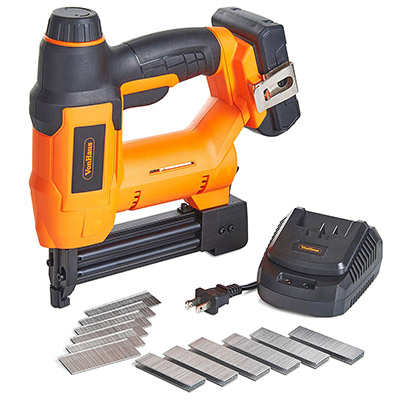 Best Battery Powered Staple Guns VonHaus 18V Lithium-Ion Cordless 18 Gauge Brad Nailer and Stapler Kit