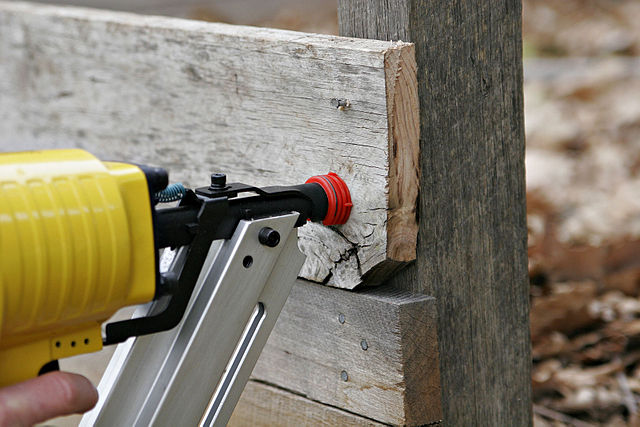Photo of a yellow nail gun
